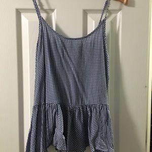 Blue and white gingham tank